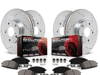 Power Stop K444 Front   Rear Brake Kit with Drilled Slotted Brake Rotors and Z23 Evolution Ceramic Brake Pads  Silver Zinc Plated