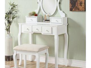 Roundhill Furniture Ashley Wood Make Up Vanity Table and Stool Set  White