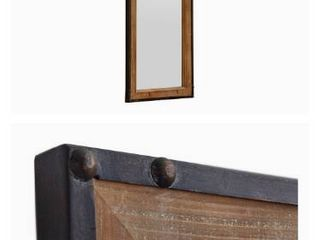 Amazon Brand Stone   Beam Wood and Iron Hanging Wall Mirror  42 25  Height  Natural Wood and Black