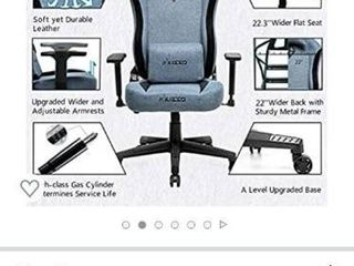 Musso Fabric Gaming Chair with Wide Seat Heavy Duty Racing Chair  Adults Adjustable Video Game Chair  large Size PU leather High Back Executive Office Chair  Blue