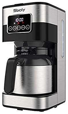 Sboly Drip Coffee Maker  Programmable Coffee Maker with Thermal Carafe  8 Cup Coffee Pot with Timer and Strength Control