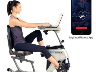 EXERPEUTIC 2500 ExerWork Bluetooth Smart Cloud Fitness Adjustable Desk Recumbent Bike with Free APP