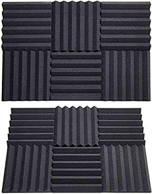 Acoustic Foam Panels 12 Packs Acoustic Panels 2 x12 x12  Sound Proof Foam Panels Music Studio Equipment Recording Studio Equipment 2inch Sound absorbing Foam Board Wedge Shape Black