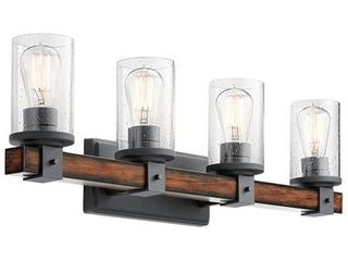 Kichler 4 light Barrington 9 in Distressed Black and Wood Cylinder Vanity light