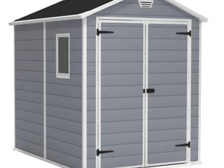 Keter Manor 6  x 8  Resin Storage Shed  Gray White