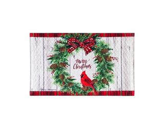 Merry Christmas Cardinal In Wreath Floor Mat