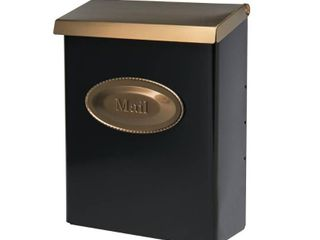 Solar Group DVKGB000 large Vertical Style locking Wall Mount Mailbox with Brass lid  Black