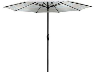 allen   roth 9 ft Octagon Natural with Dark Brown Aluminum Frame Auto Tilt Market Patio Umbrella