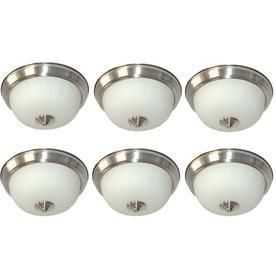 Style Selections 6 Pack 9 in W Brushed Nickel Integrated led Ceiling Flush Mount light