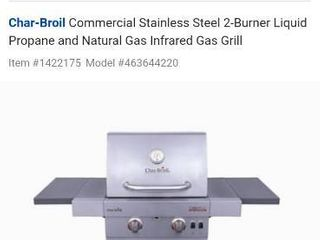 Char Broil Commercial infrared 2 burner gas grill number 142 2175
