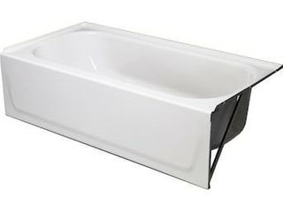 Briggs Pendant 30 in White Enameled Steel Rectangular left  Hand Drain Alcove Bathtub Item  805831Model  2520 130