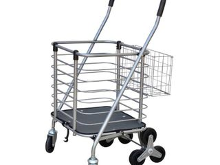Milwaukee 3 Wheel Steel Easy Climb Shopping Cart Design with Accessory Basket in Silver