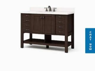 allen   roth Kingscote 48 in Espresso Single Sink Bathroom Vanity with White Engineered Stone Top