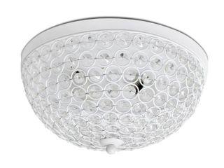 Elegant Designs 2 light Elipse Crystal Flush Mount Ceiling light  White