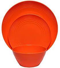 Melange Melamine Dinnerware Set orange plastic 16 pc 2 small plates broken
