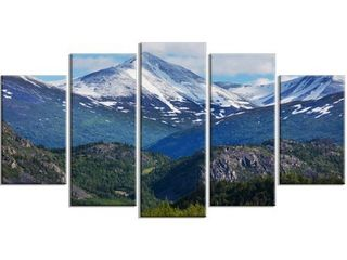 Designart  Frosty Mountains on Alaska  landscape Art Print Canvas   Green  Retail 119 99