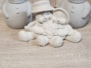 Trio of Snowpeople Bisquware