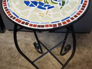 Mosaic Rooster Table