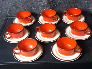 Set of 8 Ceramic Burnt Orange Cups w Brown Trim   Ivory w Brown Trim Saucers Ora
