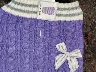 Dog Sweater Medium 17 22  Purple white gray