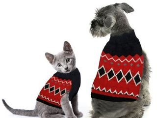 Red Argyle Pet Sweater  Medium