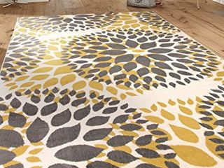 Modern Floral Circles Design Area Rugs 6  6  x 9  Yellow