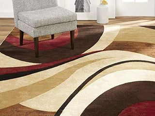 Home Dynamix Tribeca Slade Modern Area Rug  Abstract Brown Red 7 10 x10 6