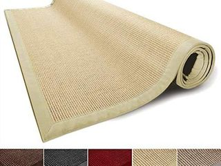 casa pura Sisal Rug Runner   100  Natural Fiber Area Rug   Non Skid Rustic Entryway Rug  living Room Carpet or Kitchen Rugs and Sizes   Natural   6 x9