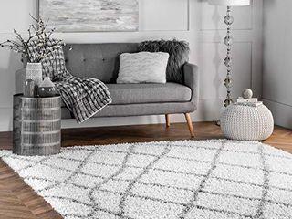 nulOOM Alvera Soft   Plush Shag Area Rug  4  X 6  White