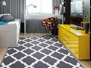 Ottomanson Glamour Collection Non Slip Moroccan Trellis Design Area Rug   3 3  X 5 0  Gray