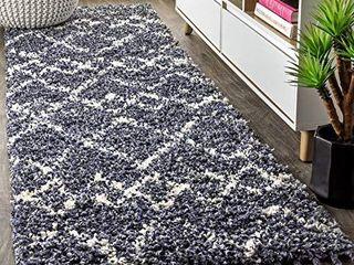 JONATHAN Y Mercer Plush Tassel Moroccan Tribal Geometric Trellis  Shags EasyCleaning Bedroom livingRoom  Non Shedding Area Rugs  2 X 8  Denim Blue Cream