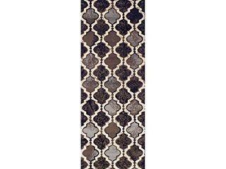 SUPERIOR Gudrun Indoor Area Rug  Super Soft  Durable  Elegant  Geometric  Trellis Pattern  Mid Century  Contemporary  Jute Backing  Chocolate  2 7 x 8  Runner