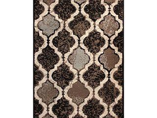 SUPERIOR Eret Indoor Area Rug  Super Soft  Durable  Elegant  Geometric  Trellis Pattern  Mid Century  Contemporary  Jute Backing  Chocolate  3  x 5  Runner