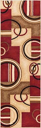 Well Woven Barclay Arcs   Shapes Red Modern Geometric Area Rug 2 3  X 7 3  Runner