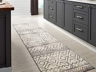 Maples Rugs Abstract Diamond Modern Distressed Non Slip Runner Rug For Hallway Entry Way Floor Carpet  Made in USA  2 6 x 10  Neutral