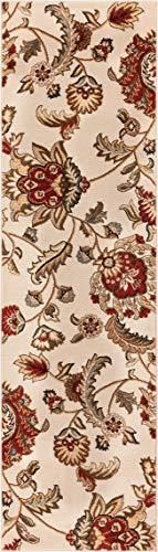 Well Woven Barclay Ashley Oriental Ivory Floral Area Rug 2 3  X 7 3  Runner
