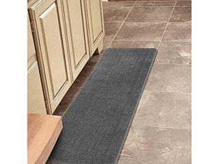 Ottomanson Softy Solid Non Slip Kitchen Bath Rug  2 2 X8  Gray