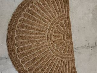 Mibao Half Round Door Mat  Rubber Doormats Welcome Entrance Way Mat  Heavy Duty Semicircle Door mats  Non Slip Durable low Profile Easy to Clean Waterproof Front Outdoor  24  x 36