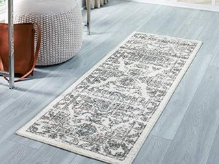 Maples Rugs Distressed Tapestry Vintage Non Slip Runner Rug For Hallway Entry Way Floor Carpet  Made in USA  2 x 6  Neutral