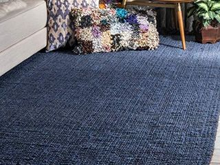 nulOOM Natura Collection Chunky loop Jute Rug  7  6  x 9  6  Navy Blue  6  6