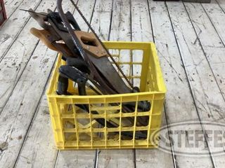 Crate of Assorted Hand Saws 0 jpg