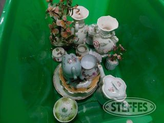 Tote of Ornate Tea Pots Vases Dishes 1 jpg
