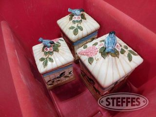 3 Decorative Ceramic Flour Pots 1 jpg