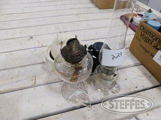 2 Glass Kerosene lamps Campbell Soup Pot 1 jpg