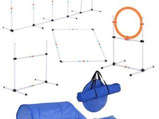 Pawhut 5 piece Outdoor Dog Agility Training Equipment Set Retail 114 99