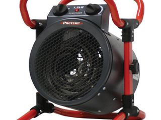 ProTemp Turbo 1500 Watt Electric Fan Space Heater with Thermostat  Black  Red