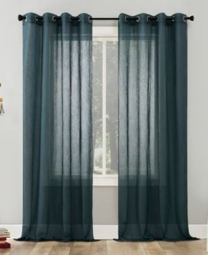 Erica Crushed Sheer Voile Grommet Top Curtain Panel Teal   No  918