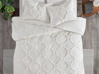 3pc King California King leena Cotton Geometric Duvet Cover Set White