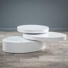Small Oval White Rotatable Coffee Table