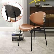 Single Cognac Art leon Mid Century Bentwood Accent Upholstery Dining Chair